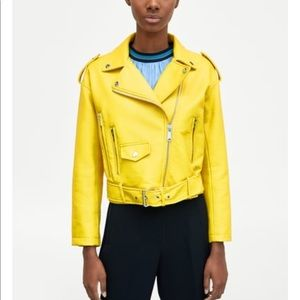Zara yellow  Moto biker jacket 2018